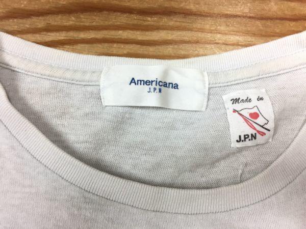 【送料240円】Americana アメリカーナ 半袖Tシャツ レディース コットン100% アメカジ 日本製 ライトグレー_画像2
