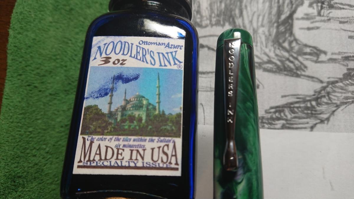 万年筆とインク Noodlers INK 14046 Qufu Jade Konrad Flex & Noodlers INK Attoman Azure _画像9