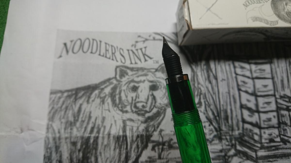 万年筆とインク Noodlers INK 14046 Qufu Jade Konrad Flex & Noodlers INK Attoman Azure _画像8