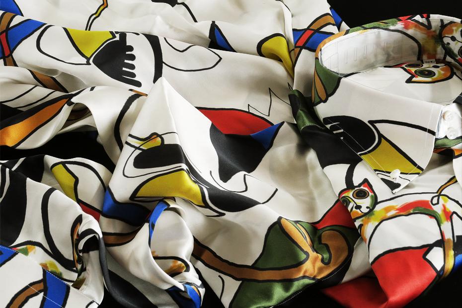 ★イタリアシルクシャツ DANROMA SILK SATIN DUE BOTTONI CONI GATTI 痛快!仰天!SURPRISE!最高にうれしく楽しくネコちゃんす S 38-87_画像6