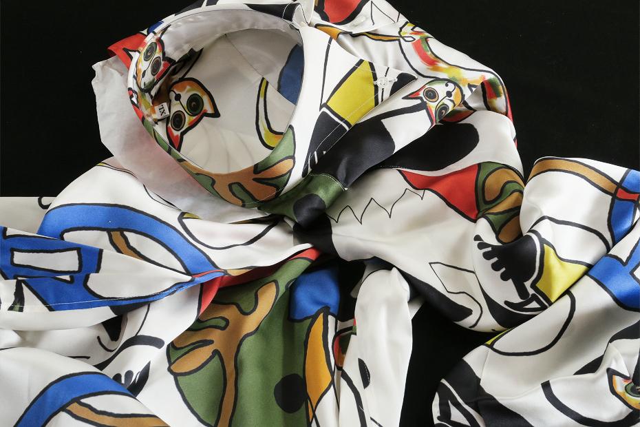 ★イタリアシルクシャツ DANROMA SILK SATIN DUE BOTTONI CONI GATTI 痛快!仰天!SURPRISE!最高にうれしく楽しくネコちゃんす S 38-87_画像4