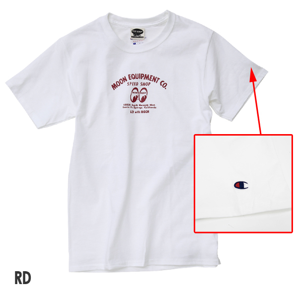 Mサイズ MOONEYES × Champion 188円発送可 speed shop スピードショップ Tシャツ ムーンアイズ ホワイト チャンピオン コラボ 車 バイク_画像2