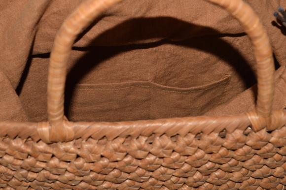 山葡萄籠バッグ / 手提げ / 六角花結び編み / 巾着と中布付き / (約)W42cmxH27cmxD12cm ★大きいサイズ★_画像5