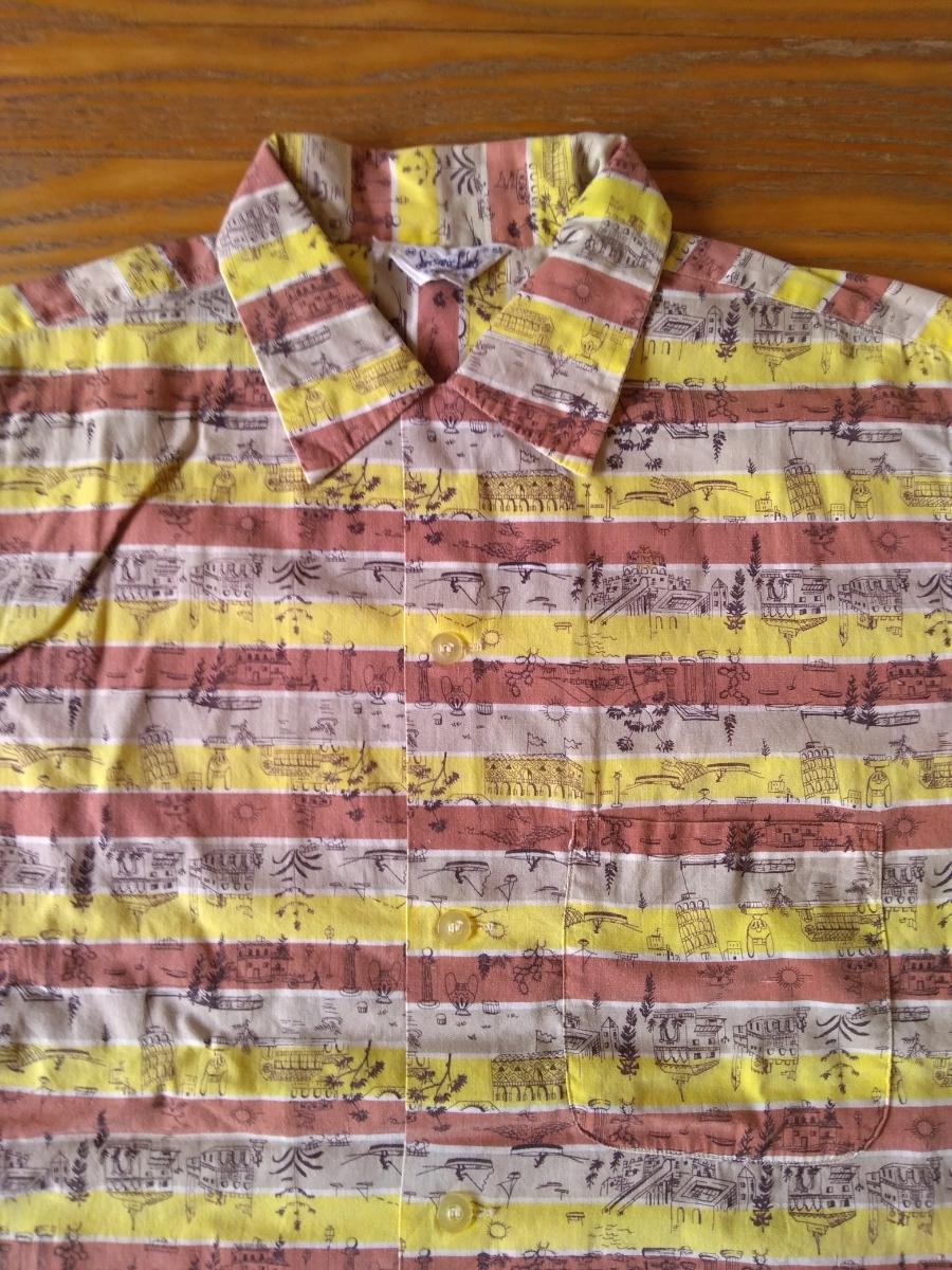 50sビンテージ オープンカラー柄シャツ アロハシャツ ハワイアンシャツ_画像3