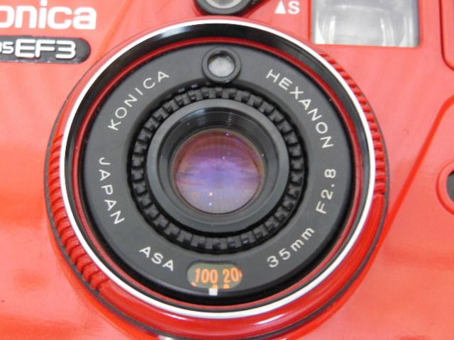 Konica コニカ C35 EF3 赤 HEXANON F2.8 35mm コンパクトフィルムカメラ_画像3