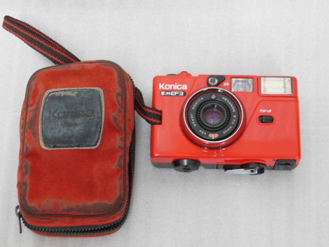 Konica コニカ C35 EF3 赤 HEXANON F2.8 35mm コンパクトフィルムカメラ