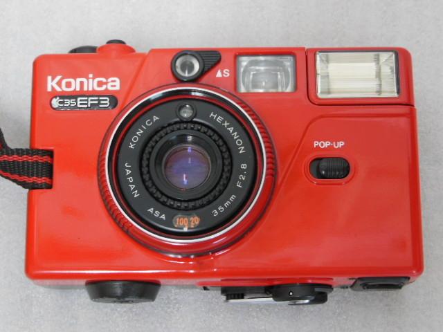 Konica コニカ C35 EF3 赤 HEXANON F2.8 35mm コンパクトフィルムカメラ_画像2
