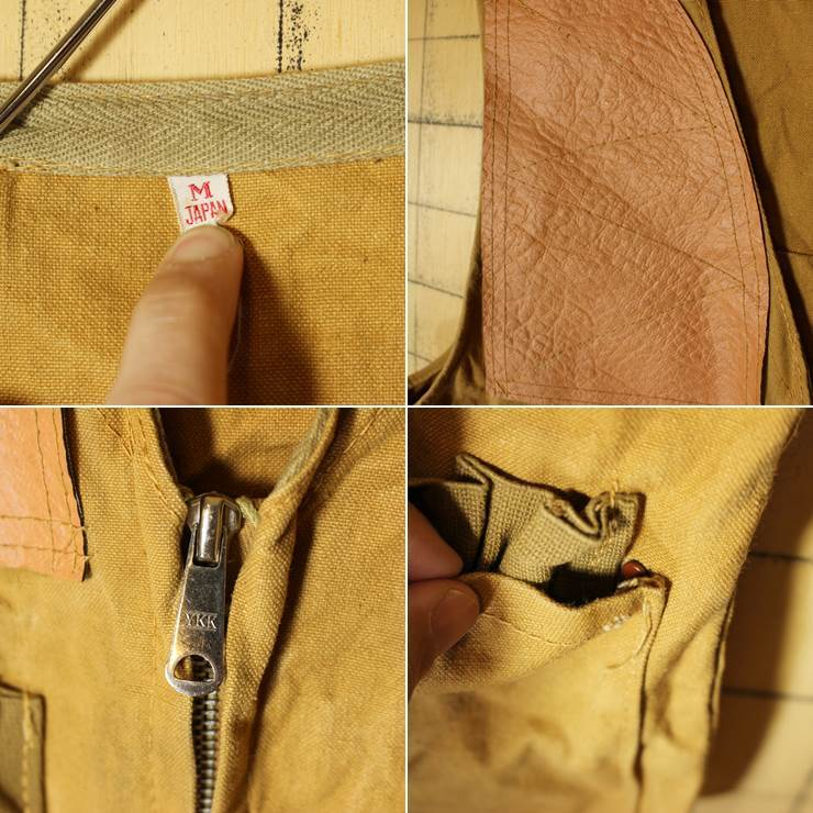 60s 70s 日本製 ハンティング ダックベスト メンズM アウトドア ライトブラウン フィッシング 古着_画像2