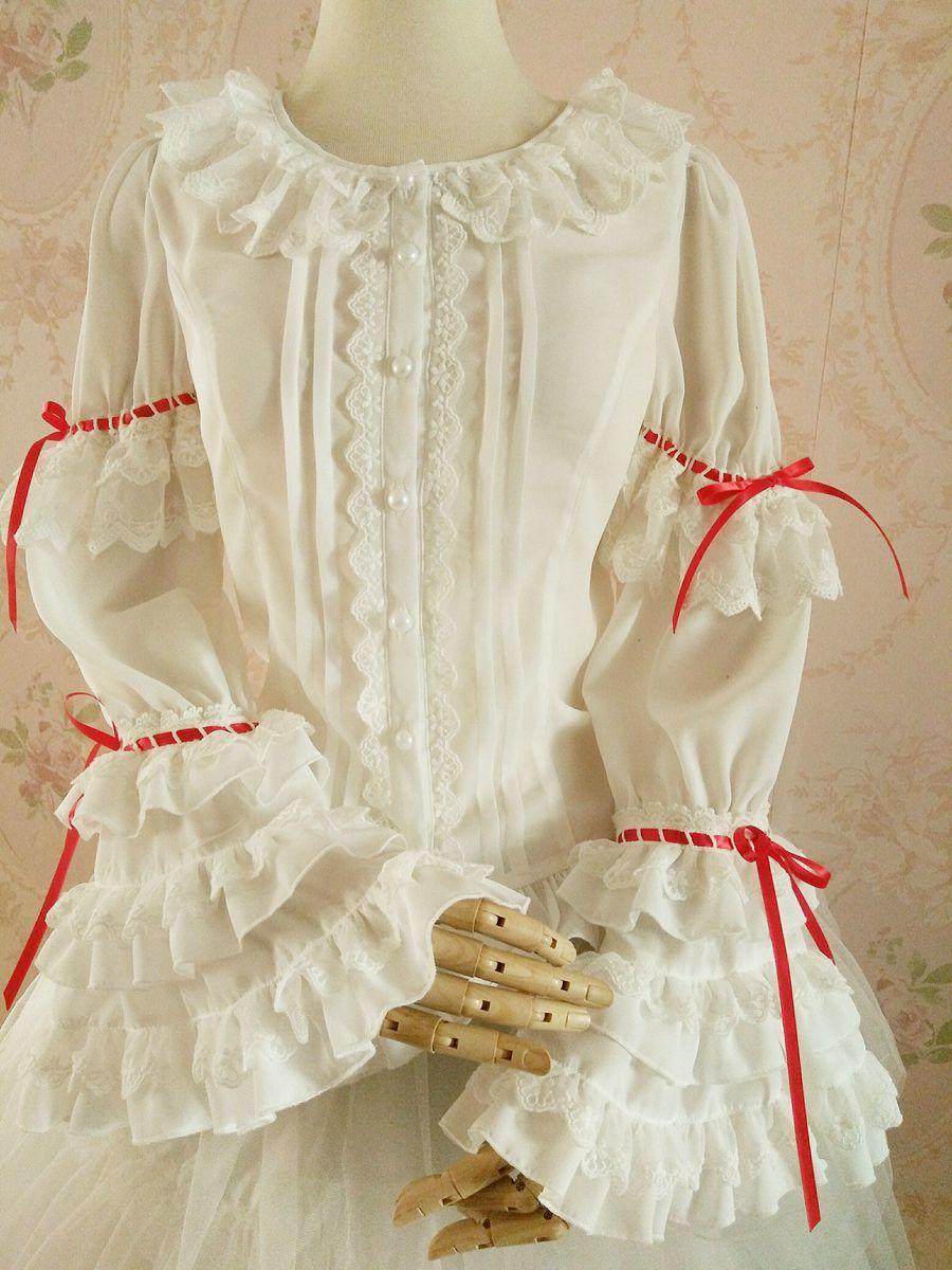 新品 ロリータ レディース レトロ風 トップス ブラウス 丸襟 姫袖 プリンス 長袖 スリム レース コスプレ衣装 かわいい ゴスロリ 乳白色_画像1
