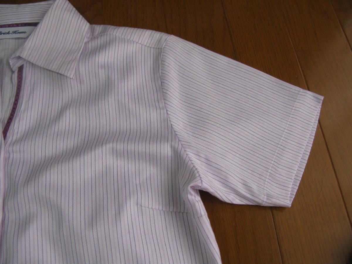 a5b309f37497c7 ブリックハウス東京シャツSサイズレディース半袖シャツストライプブラウス送料185円brick house