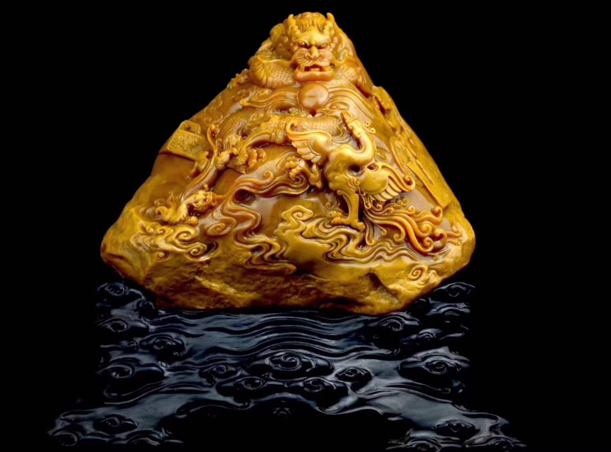 ◆稲川一家◆【古美術】【渡来】古田黄石『龍鳳呈祥』手彫 清朝期 時代物 根付 擺件