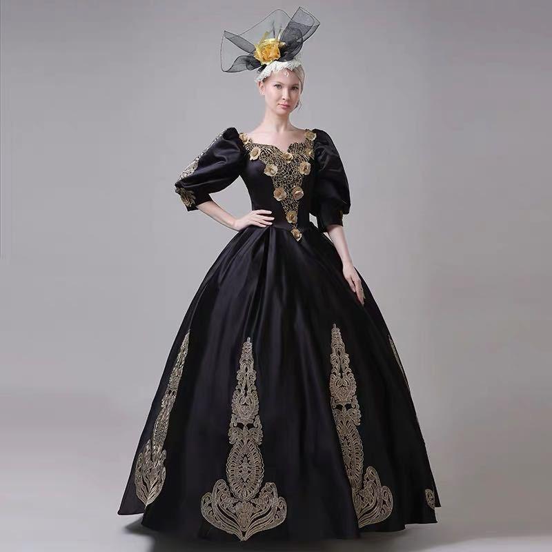 お買い得 サイズオーダー無料 ブラック黒 カラードレス ウエディングドレス コスプレ 中世 貴族 ロングドレス 帽子付属 演出 ステージ衣装