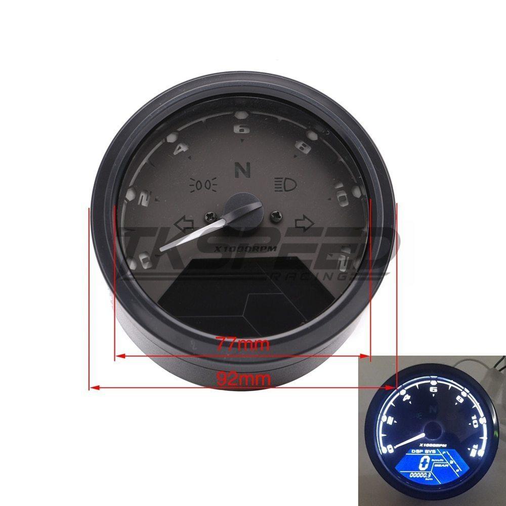 ★8-18 V 汎用液晶デジタルタコメータスピードメーターオドバイク 12000 2,4 シリンダー_画像6