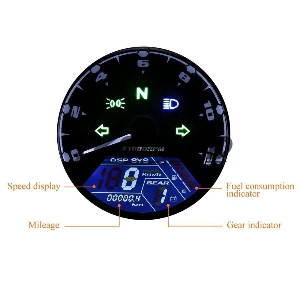 ★8-18 V 汎用液晶デジタルタコメータスピードメーターオドバイク 12000 2,4 シリンダー_画像2