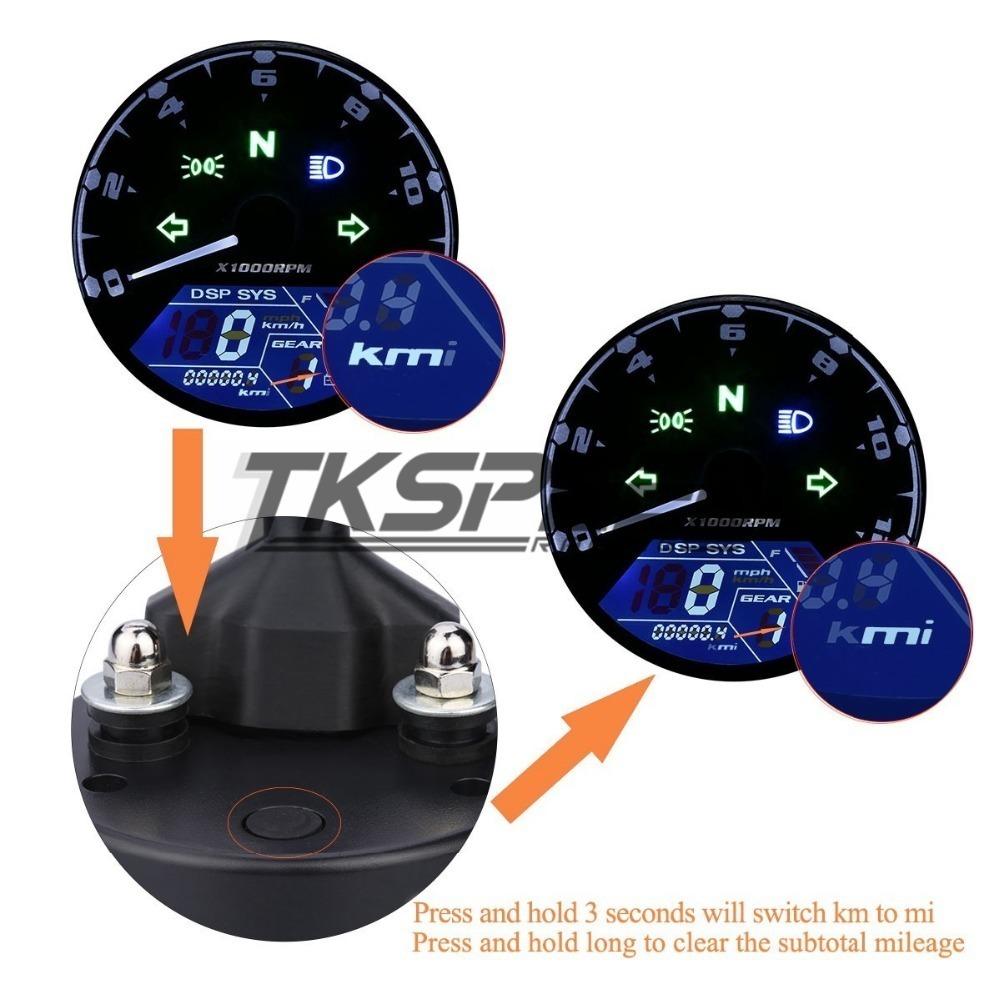 ★8-18 V 汎用液晶デジタルタコメータスピードメーターオドバイク 12000 2,4 シリンダー_画像5