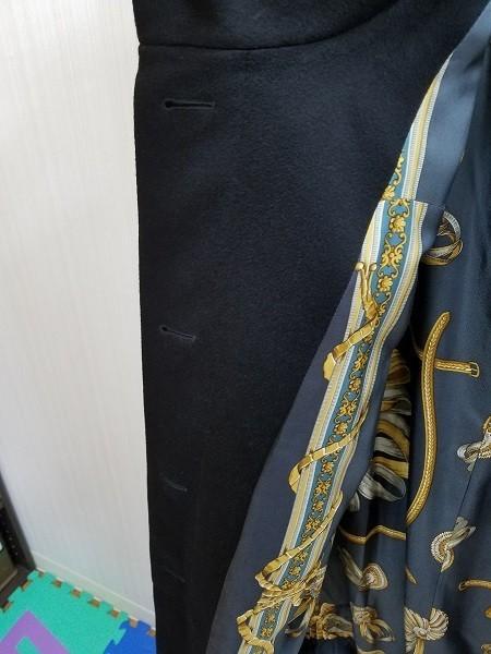 高級! HERNO ヘルノ レディース ロングコート カシミヤ100% シルク100% 裏地総柄 イタリア製 46 ブラック/黒色 美品(G2879-1)_画像10