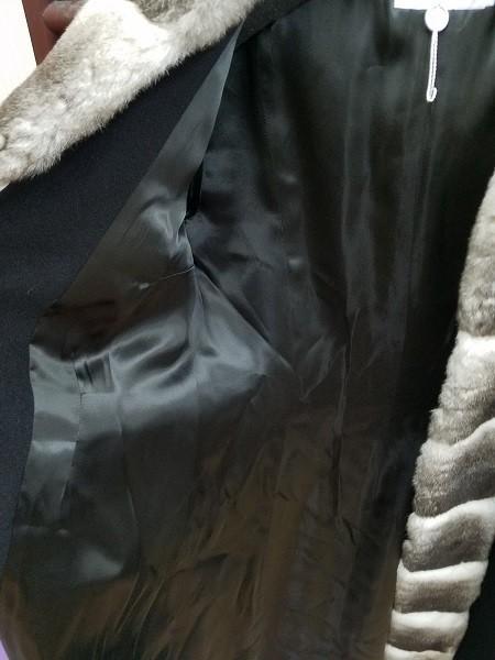 高級! HERNO ヘルノ レディース カシミヤ100% フード付きロングコート ファー イタリア製 44 ブラック/黒色 美品 ※少し訳あり(G2879-5)_画像4
