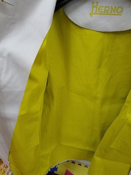 高級! HERNO ヘルノ レディース ノーカラー ロングコート コットン イタリア製 44 ホワイト/白色系 超美品(G2879-12)_画像8
