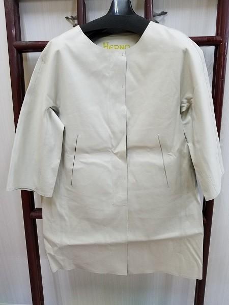 高級! HERNO ヘルノ レディース ノーカラー ロングコート コットン イタリア製 44 ホワイト/白色系 超美品(G2879-12)