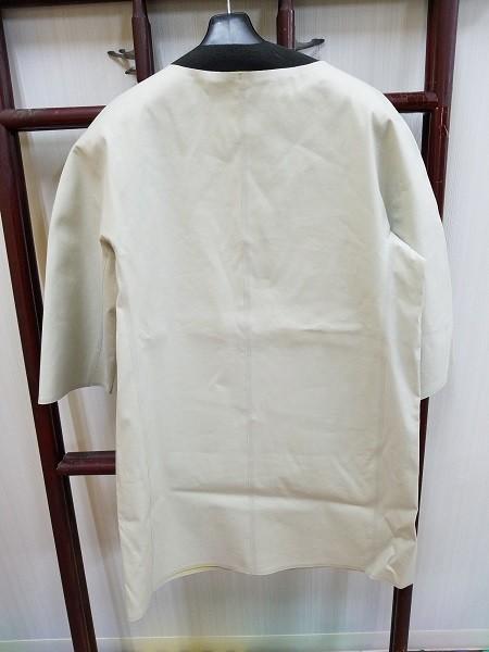高級! HERNO ヘルノ レディース ノーカラー ロングコート コットン イタリア製 44 ホワイト/白色系 超美品(G2879-12)_画像5