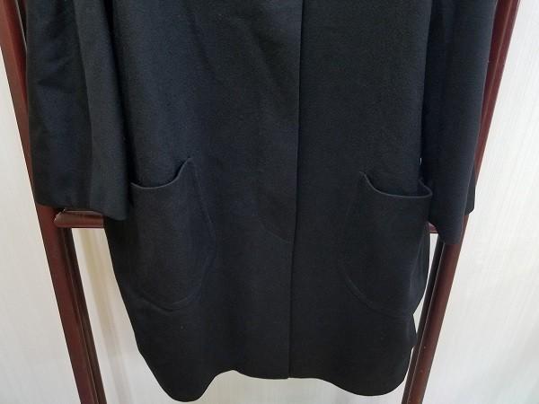 高級! HERNO ヘルノ レディース ロングコート カシミヤ100% シルク100% 裏地総柄 イタリア製 46 ブラック/黒色 美品(G2879-1)_画像3