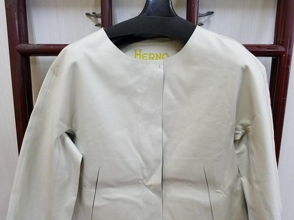 高級! HERNO ヘルノ レディース ノーカラー ロングコート コットン イタリア製 44 ホワイト/白色系 超美品(G2879-12)_画像2