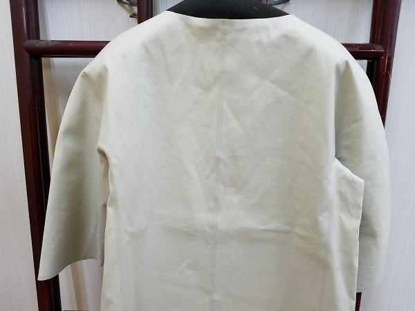 高級! HERNO ヘルノ レディース ノーカラー ロングコート コットン イタリア製 44 ホワイト/白色系 超美品(G2879-12)_画像6