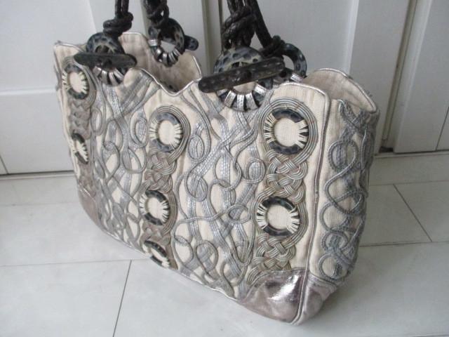 ◆本物 ジャマンピエッシュ レザー装飾キャンパストートバック 美品◆_画像2