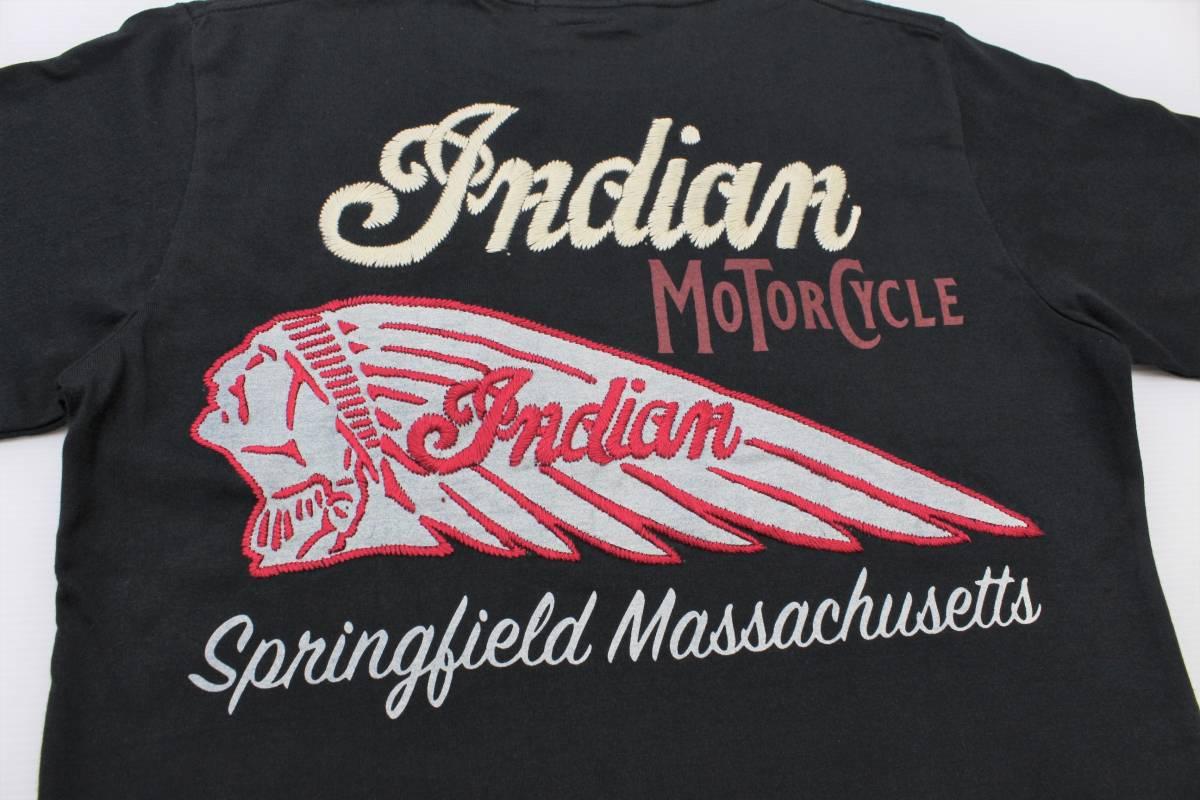 YTS27東洋Lインディアン モーターサイクル 半袖Tシャツ 刺繍INDIAN MORTORSYCLEスプリングフィールド バイカー 黒色_画像1