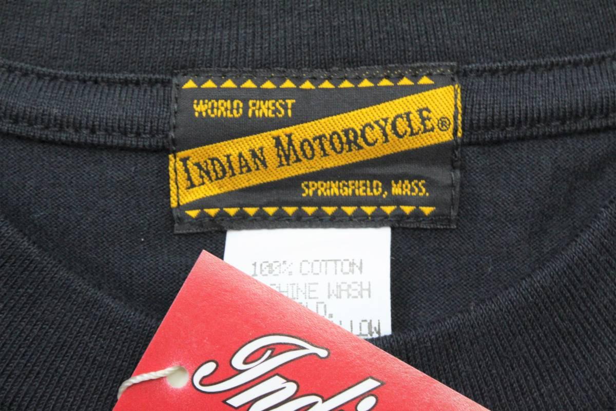 YTS27東洋Lインディアン モーターサイクル 半袖Tシャツ 刺繍INDIAN MORTORSYCLEスプリングフィールド バイカー 黒色_画像6