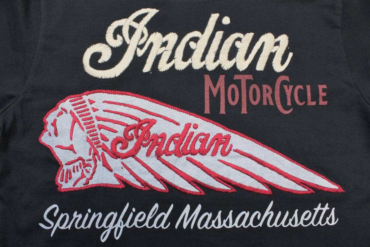 YTS27東洋Lインディアン モーターサイクル 半袖Tシャツ 刺繍INDIAN MORTORSYCLEスプリングフィールド バイカー 黒色_画像4