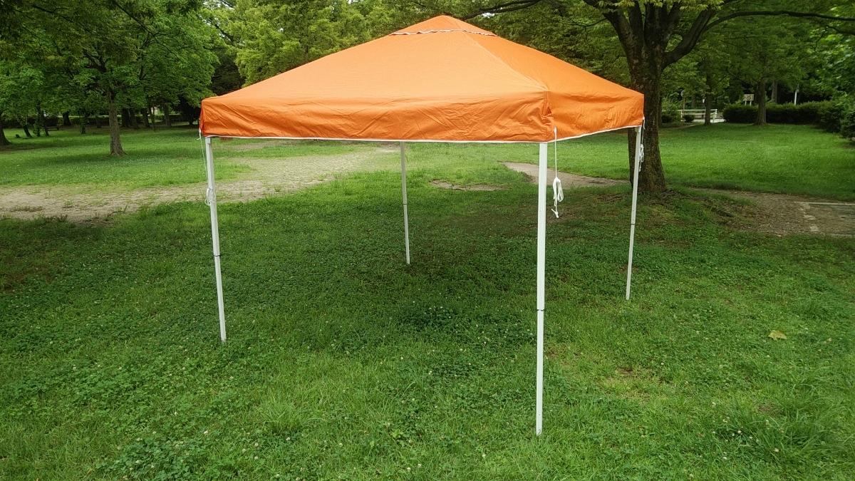 ワンタッチタープ フィールドアー 2.5mx2.5m オレンジ サイドシート付 ワンタッチテント FIELDOOR _画像3