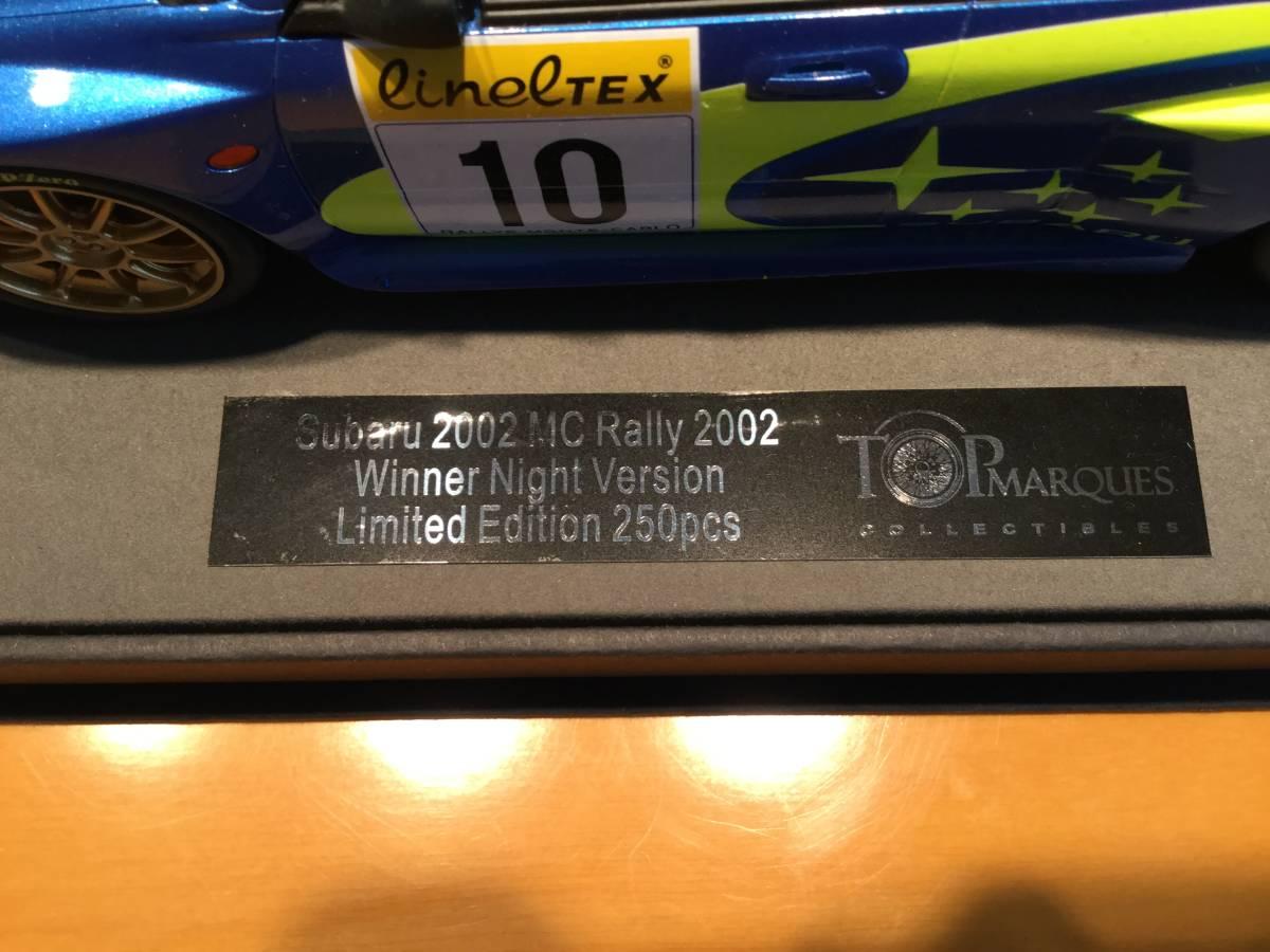 TOPMARQUES 1/18 スバルインプレッサS7 555 WRC #10 2002年モンテカルロ ナイトバージョン ミニカー