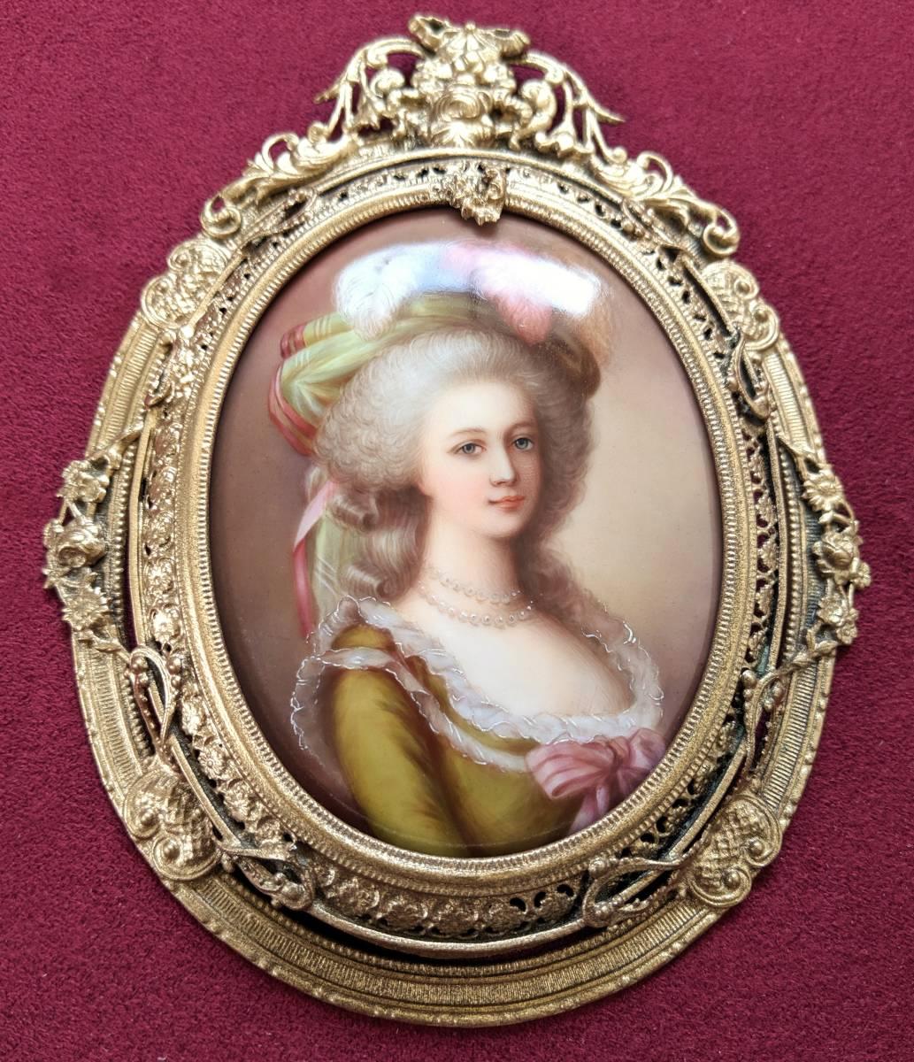 ■最高品質 豪華額装 19世紀ドイツ手描き陶板画 マリーアントワネット_画像2