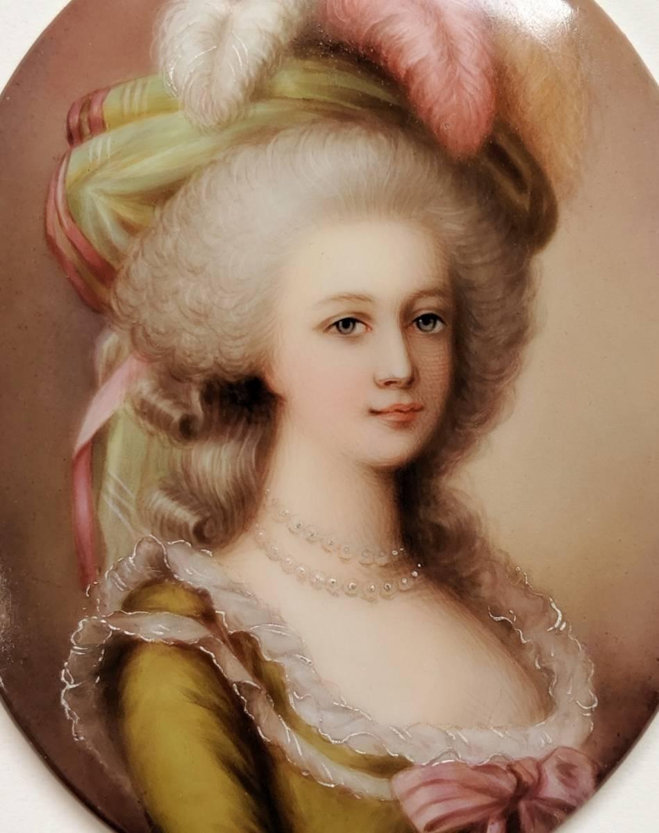 ■最高品質 豪華額装 19世紀ドイツ手描き陶板画 マリーアントワネット_画像3