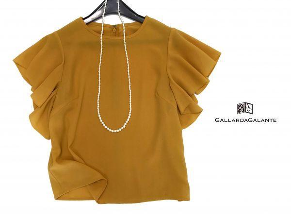 ◆新品同◆GALLARDAGALANTE◆(ガリャルダガランテ フリル袖ブラウス 半袖トップス 黄色 イエロー Fサイズ)