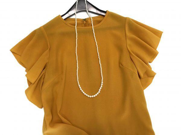 ◆新品同◆GALLARDAGALANTE◆(ガリャルダガランテ フリル袖ブラウス 半袖トップス 黄色 イエロー Fサイズ)_画像2