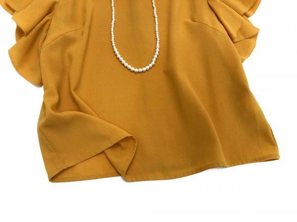◆新品同◆GALLARDAGALANTE◆(ガリャルダガランテ フリル袖ブラウス 半袖トップス 黄色 イエロー Fサイズ)_画像6