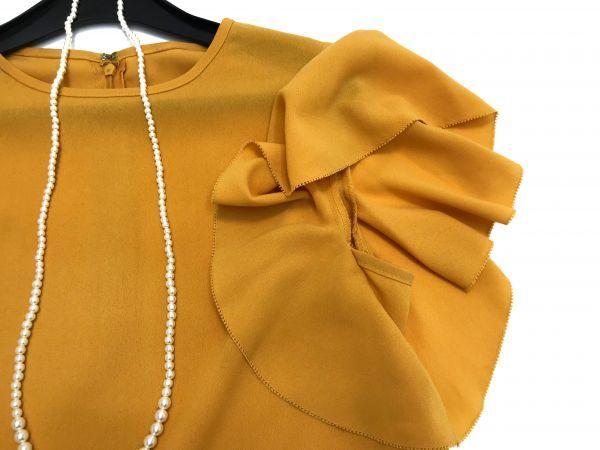 ◆新品同◆GALLARDAGALANTE◆(ガリャルダガランテ フリル袖ブラウス 半袖トップス 黄色 イエロー Fサイズ)_画像4