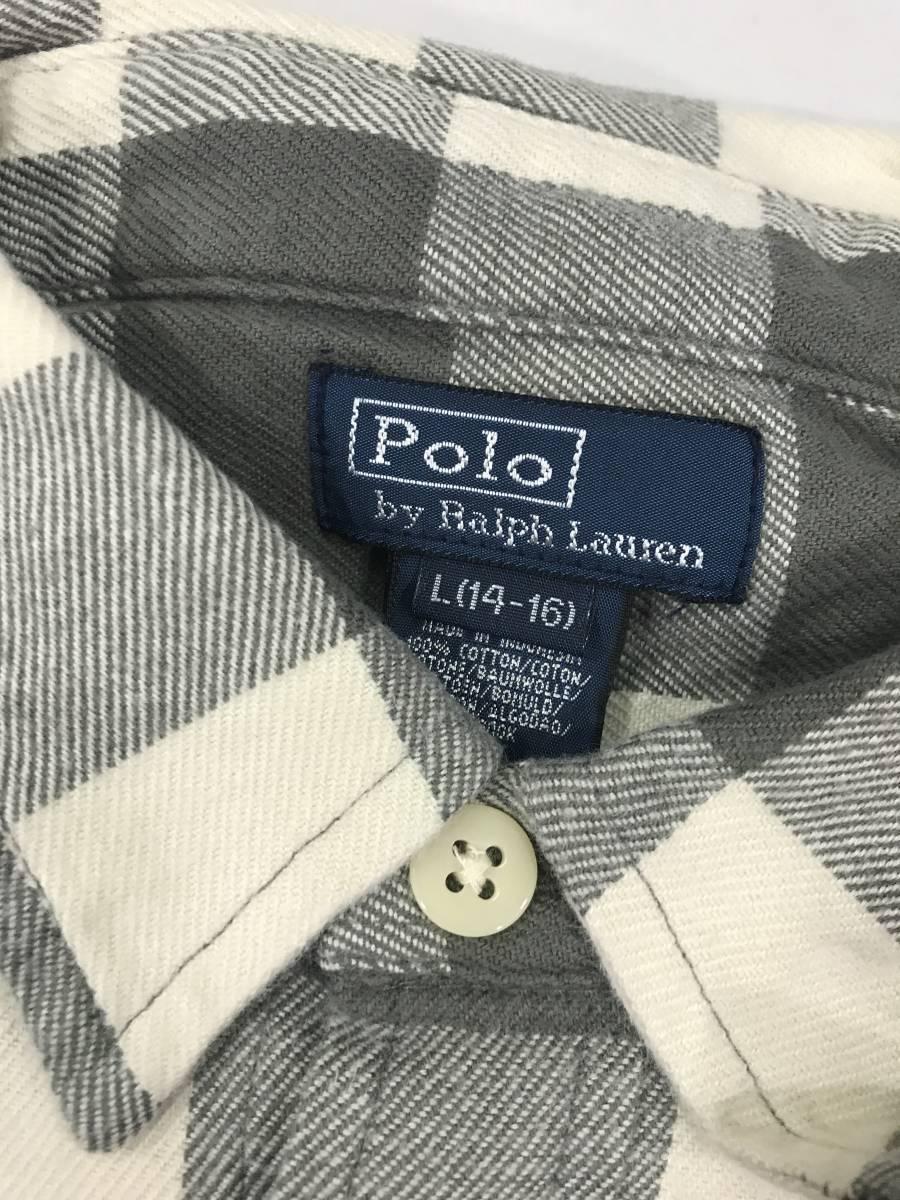 古着 16776 L(14-16) 長袖 シャツ USA コットン ビンテージ オリジナル vintage 60 70 80 90 ポロ polo ラルフ_画像4