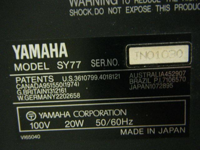 Aの12▲カード付属 YAMAHA( ヤマハ ) SY77 Keyboard キーボード◇シンセサイザー◇Vintage Syntheiszer_画像7