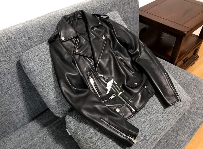 高品質 紳士 極美品 高級のシープスキン100% 上層羊の皮 本革ジャケットレディース ショートジャケット ライダース 選択可KM269_画像2