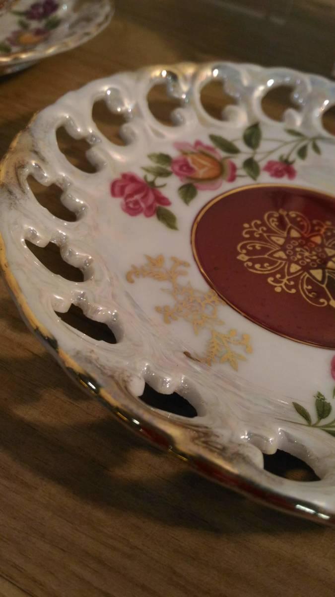 〔FuY514〕大橋陶器 ゴールデンファンタジー ガラスカップ&ソーサー 5客セット アンティーク品 100サイズ_画像7