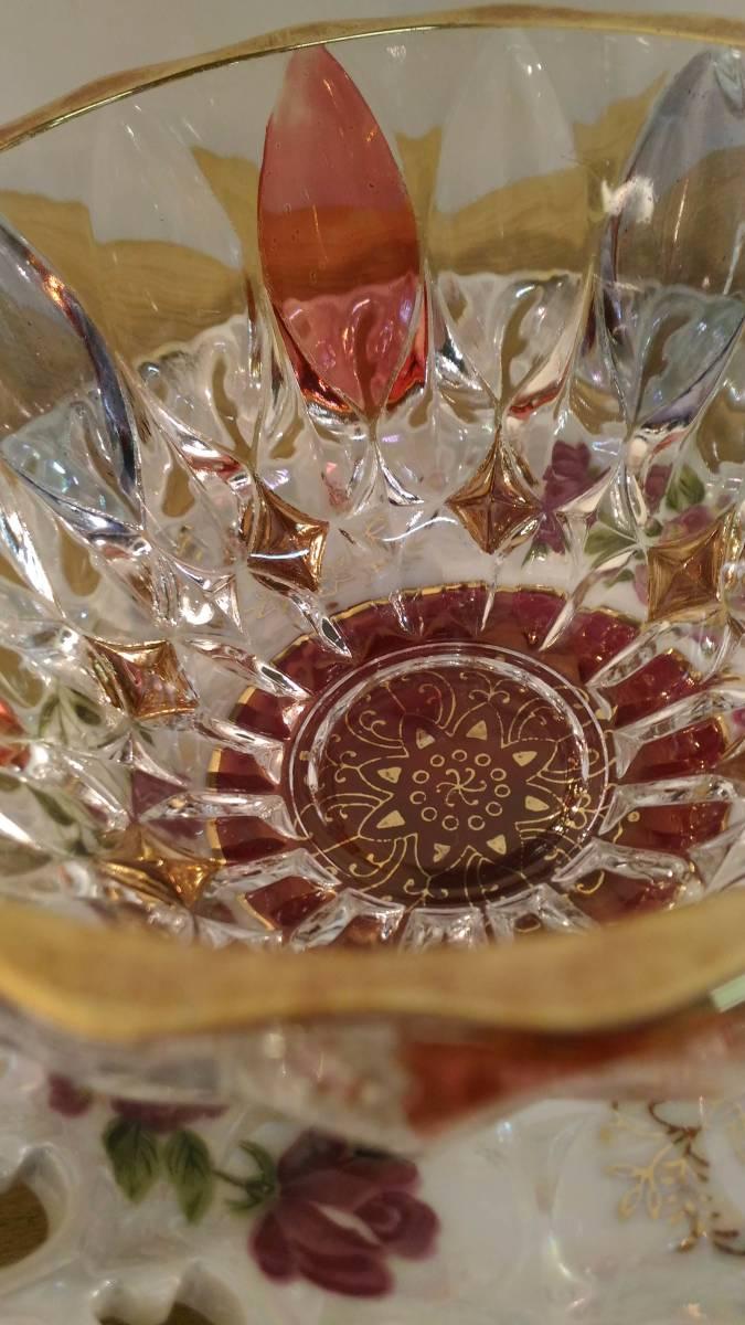 〔FuY514〕大橋陶器 ゴールデンファンタジー ガラスカップ&ソーサー 5客セット アンティーク品 100サイズ_画像10