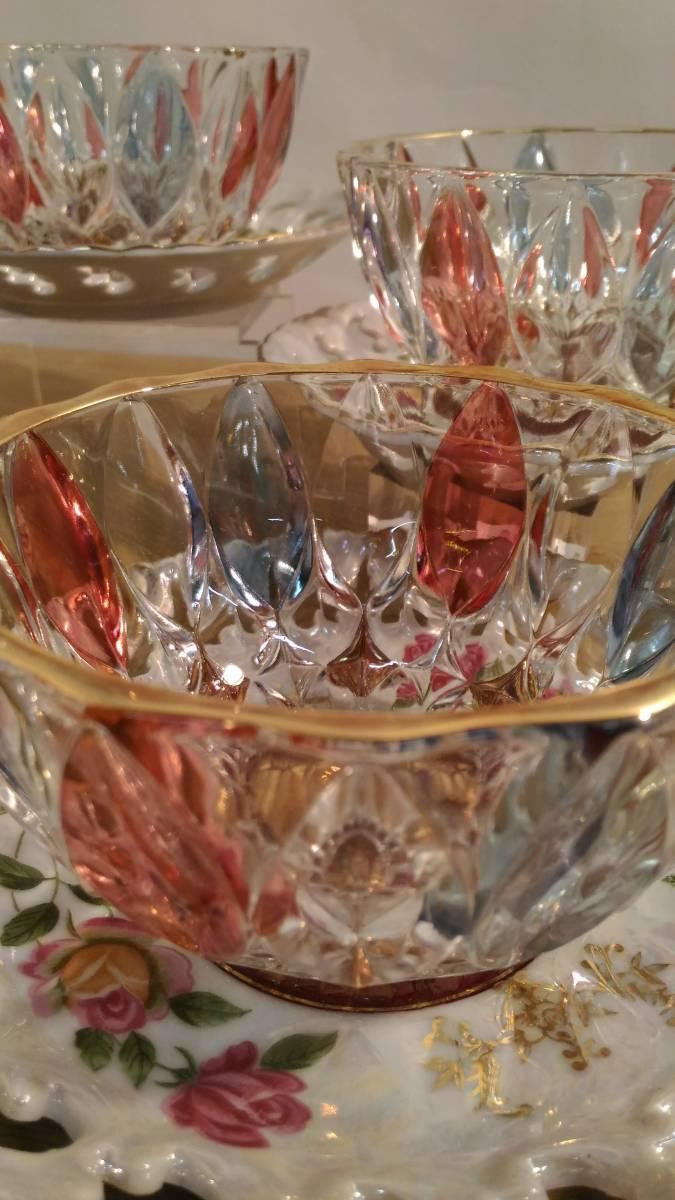 〔FuY514〕大橋陶器 ゴールデンファンタジー ガラスカップ&ソーサー 5客セット アンティーク品 100サイズ_画像3