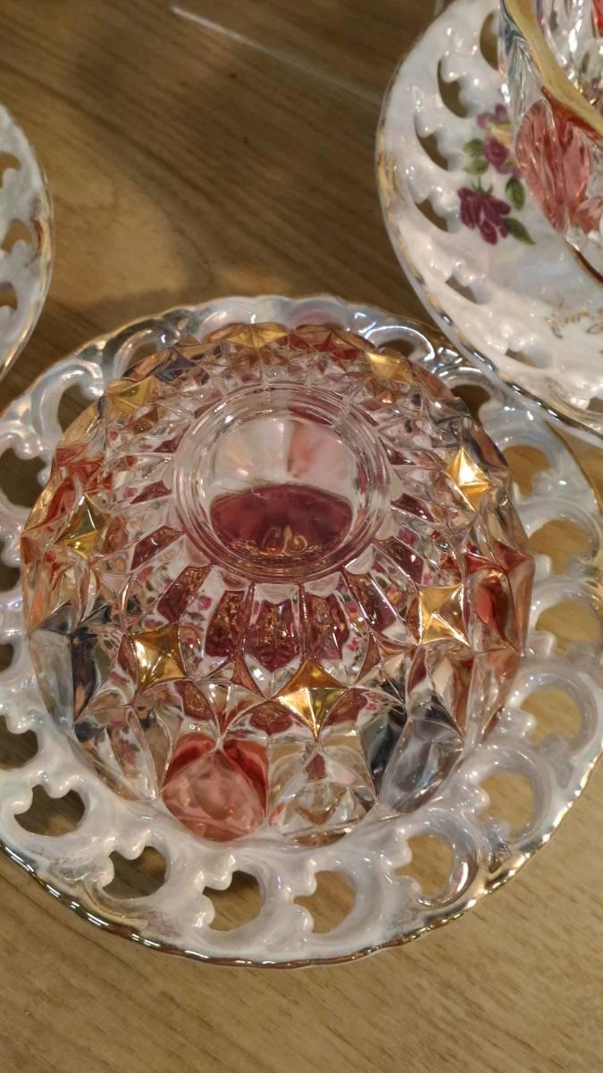 〔FuY514〕大橋陶器 ゴールデンファンタジー ガラスカップ&ソーサー 5客セット アンティーク品 100サイズ_画像4