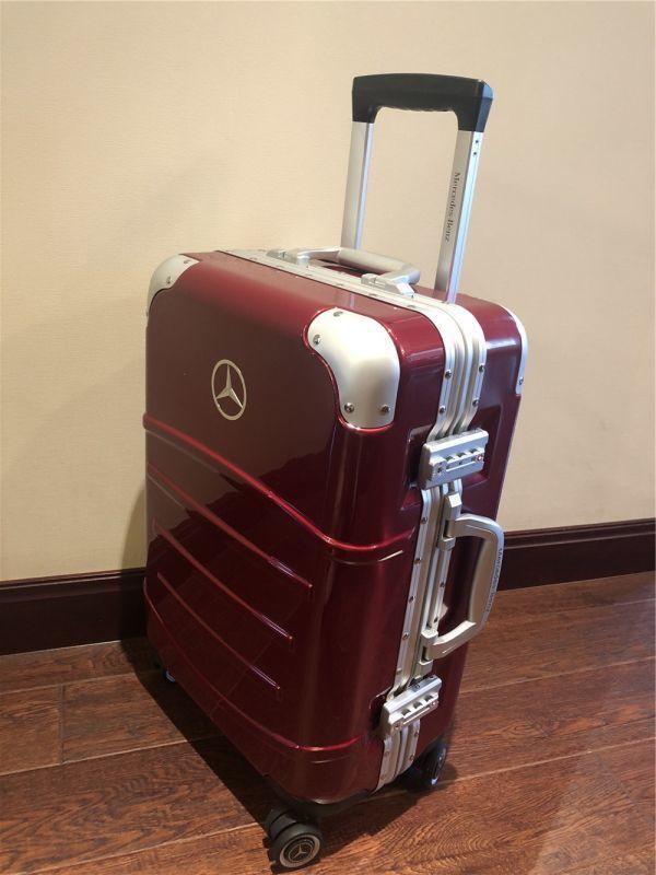 定価12万.最高級※メルセデス・ベンツ/Mercedes-Benz アルミフレーム・軽量/静音・オリジナル・スーツケース・キャリーケース・赤_画像3