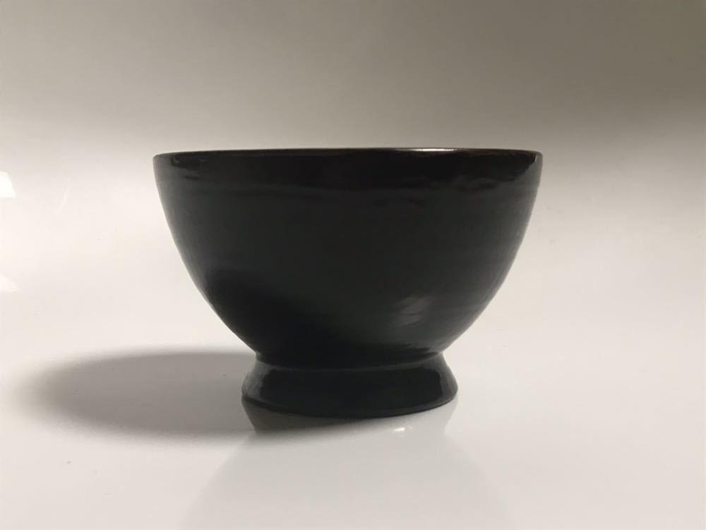 角 偉三郎 漆器 つぼ椀 (小椀) 黒塗 金縁_画像6