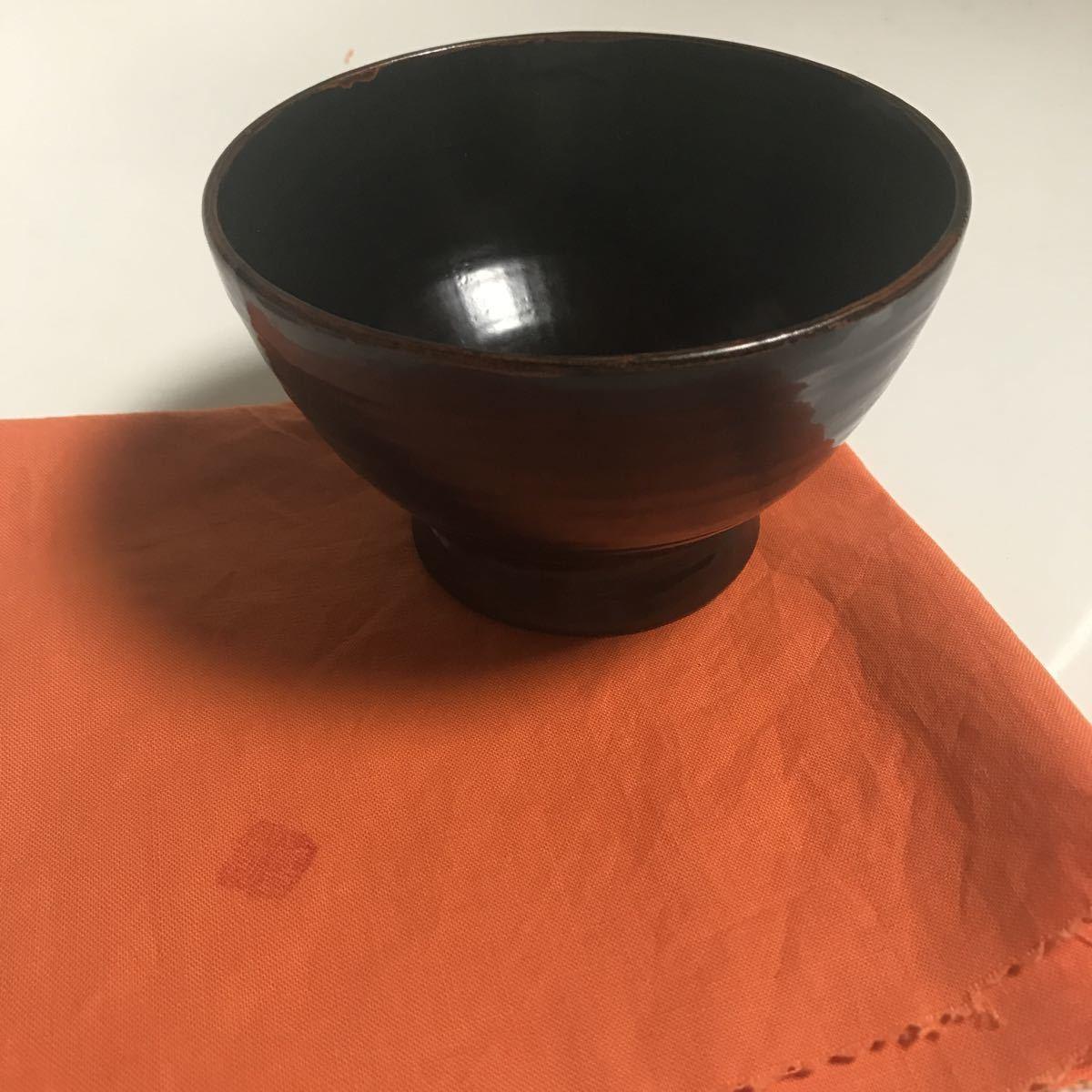 角 偉三郎 漆器 つぼ椀 (小椀) 黒塗 金縁_画像9