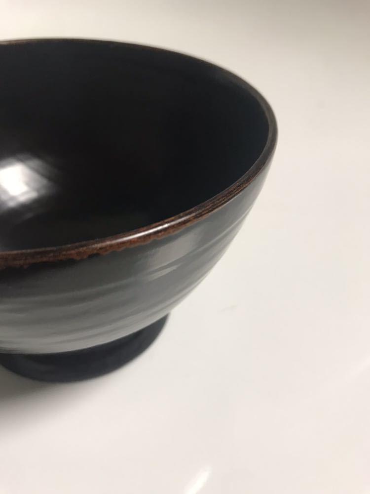 角 偉三郎 漆器 つぼ椀 (小椀) 黒塗 金縁_画像5